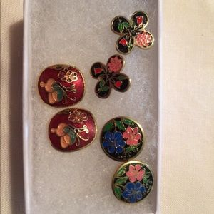 Jewelry - Cloisonné look vintage earrings lot of 3